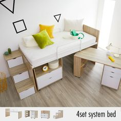 Cute Bedroom Ideas, Room Ideas Bedroom, Bedroom Furniture Sets, Bedroom Sets, Diy Storage Bed, Bunk Beds With Storage, Small Bedroom Interior, Small House Interior Design, Elevated Bed Frame