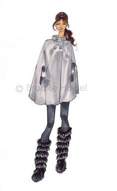 fashionillustration.quenalbertini: Grey coat, fashion illust. print by Brooke Hagel via Etsy