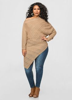 Shadow Stripe Asymmetrical Sweater