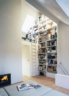 Attic room with bookshelves