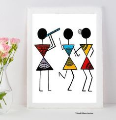 Warli Art Warli prints indian folk art prints home decor image 1 Fabric Canvas Art, Diy Canvas Art, Worli Painting, Fabric Painting, Music Painting, Music Artwork, Reproductions Murales, Afrique Art, Art Premier