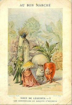 Anthropomorphic vegetables are making plans in an advertising trade card from Au Bon Marche department store, Paris, France, circa Get premium, high resolution news photos at Getty Images Art And Illustration, Graphic Design Illustration, Botanical Illustration, Illustrations Posters, Vintage Labels, Vintage Ephemera, Vintage Postcards, Vintage Pictures, Vintage Images