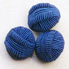 Blue woven buttons set of 3 by notionallybetter on Etsy