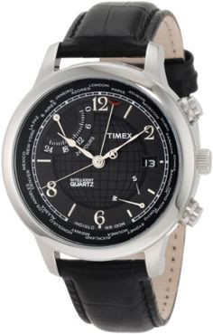 Timex Men's T2N609 Intelligent Quartz Traveller Series World Time Black Leather Strap Watch Timex. $84.13. Water-resistant to 330 feet (100 M). Indiglo® Night-Light. INDIGLO night-light. Black Genuine Leather Strap with Stamped Crocodile Pattern. Stainless steel case. Save 49% Off!