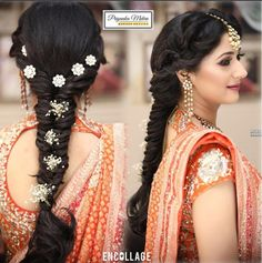 Favorite Bridal Hairstyles This Wedding Season - Wish N Wed Bridal Hairstyle For Reception, Bridal Hairstyle Indian Wedding, Bridal Hair Buns, Bridal Hairdo, Braided Hairstyles For Wedding, Hair Wedding, Hairstyles For Gowns, Saree Hairstyles, Bun Hairstyles For Long Hair