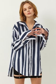 Julie Stripe Shirt  >>Discover the latest fashion trends online at storets.com #shirt #stripeshirt #cottonshirt