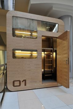 Russian architecture and design group Arch Group are releasing the Sleepbox, a very small portable hotel room with the intention of places like airports and Airport Architecture, Architecture Design, Sleep Box, Sleeping Pods, Capsule Hotel, Modern City, Tiny House, Construction, House Design