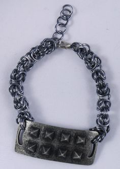 Black Spike Steampunk Chainmaille Bracelet / Spiked Chainmaille Bracelet / Punk Spike Bracelet / Goth Spike Bracelet