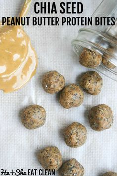 5 minutes & 5 ingredients! Chia seed peanut butter protein bites are the perfect snack. #eatclean #cleaneating #heandsheeatclean #proteinbites Protein Bar Recipes, Healthy Eating Recipes, Peanut Butter Protein, Natural Peanut Butter, Easy To Cook Meals, Protein Bites, Vanilla Protein Powder, Chia Seeds, Clean Eating