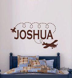 Custom Children name decal with airplane vinyl nursery wall sticker decals