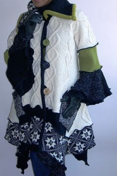 Ivory Black and Green Cable Coat   Flickr - Photo Sharing!