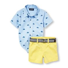 Newborn Baby Boys Short Sleeve Car Gingham Poplin Button-Down Bodysuit And Belted Woven Shorts Set - Blue - The Children's Place