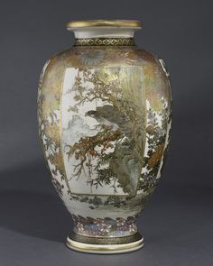 A Satsuma vase by Genzan Taisho period, early 20th century  the ovoid body decorated with panels of a bird of prey perched on a pine tree beside craggy rocks, and figures in a cherry blossom landscape, all reserved on a ground of flowering plants, signed Genzan, wood box 31 cm high