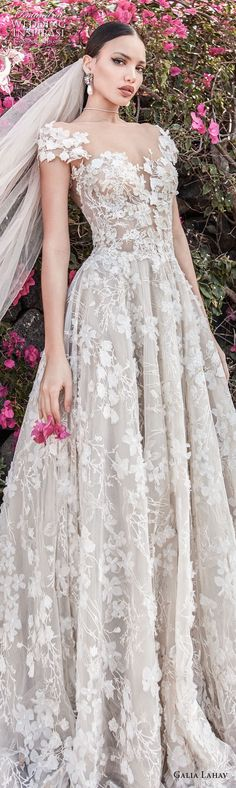 galia lahav couture fall 2018 bridal cap sleeves sweetheart neckline full embellishment elegant romantic a line wedding dress open back chapel train (1) lv -- Galia Lahav Couture Fall 2018 Wedding Dresses #wedding #weddings #bridal