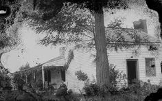 Jesse James Home in Kearney, Missouri - Mrs. Fannie Quantrill, Mrs. Zerelda James and Irving Gilmer (editor of the Liberty Tribune) are seated in front  Taken in 1880s