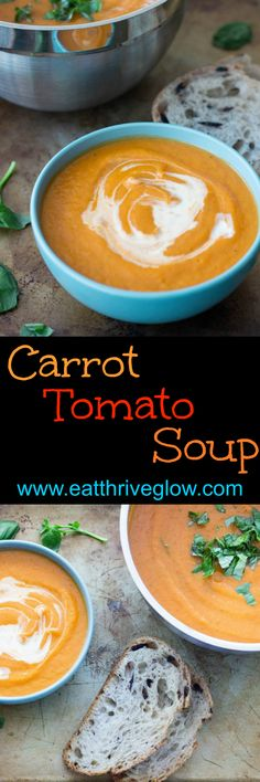 This carrot tomato soup recipe is made with butternut squash, fragrant herbs, and a touch of cream. Easy, healthy, creamy, comfort food. Makes skin glow!