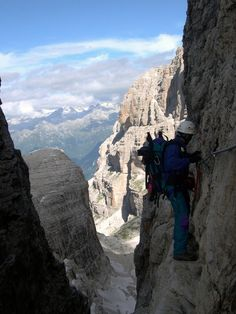 On the via ferrata delle Bocchette Centrali in the Dolomiti di Brenta, Italy.