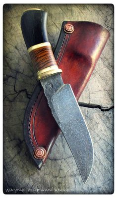 Steel: Bohler Handle: African black wood, With giraffe bone detail. Sheath: Veg tanned leather, Hand stitched with hand made rivets. Guard and Pommel: Cool Knives, Knives And Swords, Hunting Gear, Hunting Knives, Knife Handles, Knife Sheath, Handmade Knives, Fixed Blade Knife, Custom Knives