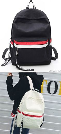 Simple Two Color Stripes Waterproof Striped Student Bag Canvas School  Backpack for bing sale !  6029236d5266c