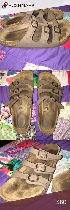 Birkenstocks Authentic-Size 8 Excellent Condition-Worn a couple of times-Bottoms Look Brand. Footbed is soft-New-Straps are In new condition, and they are a size 8. Authentic. The lining is Suede- Birkenstock Shoes Sandals