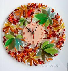 Купить часы из стекла, фьюзинг Осенние листья над нами шумят - оранжевый, осенний, стекло