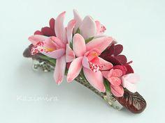 Цветы ручной работы - Заколка с тремя розовыми орхидеями