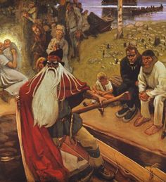 """Kalevala""- painting made by a finnish painter Akseli Gallen-Kallela Russian Mythology, Norse Mythology, Viking Age, Gods And Goddesses, Tolkien, Deities, Folklore, Les Oeuvres, Fantasy"