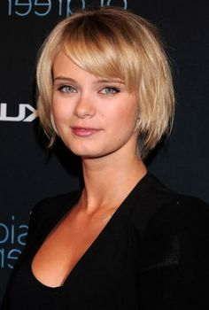 Sara Paxton Cute Short Blonde Ombre Bob Haircut with Bangs