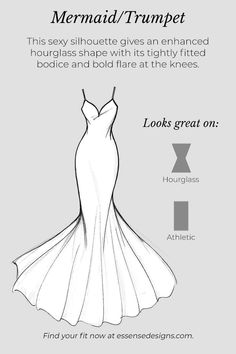 A glossary of wedding dress silhouettes that will help you achieve the bridal vision of your dreams! Learn which dresses compliment your bridal vision.