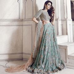 Beautiful duck egg blue with nude shades , intricate metallic embellishment we are loving this stunning bridal collection by Republic Womenswear #pakistanvogue #love #fashion #republicwomenswear