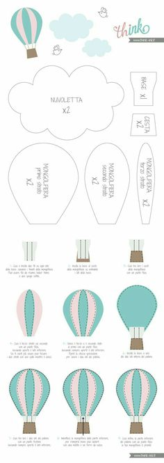 Pattern for baby mobile hot air balloons Baby Crafts, Felt Crafts, Diy And Crafts, Felt Patterns, Sewing Patterns, Felt Templates, Applique Templates, Applique Patterns, Card Templates