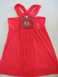 Boston Proper Womens Tank Top Coral w/ Turquoise Beading Embellished Fringe Sz S #BostonProper #KnitTop #Casual