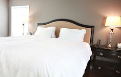 master bedroom Paint colour is restoration hardware's slate.  This blog is awesome.