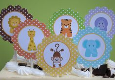 BABY JUNGLE ANIMALS Printable Cupcake Toppers , Favor Tags, Party Circles, Decorations/First Birthday or Baby Shower/Zoo Animals/Safari. $8.00, via Etsy.