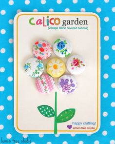 Calico Garden  Set of Vintage Fabric Buttons by LemonTreeStudio