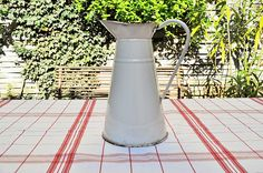White Enamelled Pitcher / Water Pitcher / Antique French Jug /