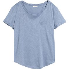 H&M Jersey top ($12) ❤ liked on Polyvore featuring tops, t-shirts, shirts, tees, blue, blue t shirt, twisted tees, curved hem t shirt, jersey t shirts and jersey knit t shirt