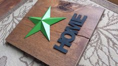 Hey, I found this really awesome Etsy listing at https://www.etsy.com/listing/174128451/solid-oak-home-star-sign-green-and-black