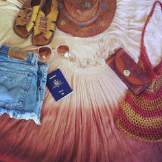 Packing for Bali 🐚🌴🌞 Floaty cheesecloth dresses, cut off denim, vintage leather ... Absolute travel essentials 💛  #nofilter #friday #weekend #travel #bali #packing #flatlay #wearingvintage #vibes #inspo #instastyle #mood #boho #summer #1970s #1970style #gypsysummer #travelessentials #happy #hittingtheroad #sunshine #beach #holiday #indiangauze #vintagefashion #dreamy #dreamboat #weekendvibes