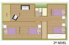 Plano de casa de 132 m2 y 2 pisos Divider, Projects To Try, Floor Plans, Room, Furniture, Houses, Home Decor, House 2, Projects