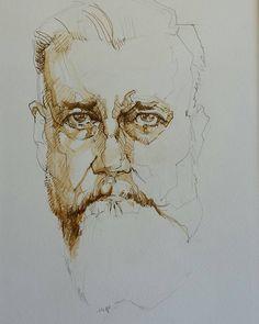 "183 mentions J'aime, 4 commentaires - Rebecca Venn (@vennrebecca) sur Instagram: ""Leon #ink #inkwash #drawing #portrait #art #contemporaryart #postcontemporaryart #face #artist"""
