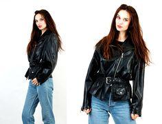 80s Motorcycle Jacket / Black Faux Leather Jacket / Biker