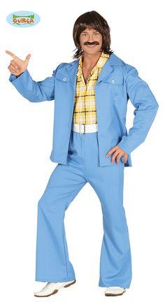 Mens Blue Disco Suit Hippy Hippie Festival Fancy Dress Costume Outfit M & L Disco Costume, 70s Costume, Hippie Costume, Retro Party, 70s Party, 1970s Disco, John Travolta, Hippie Festival, Hippie Outfits