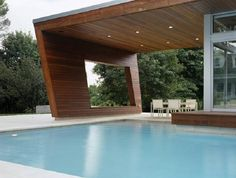 Pool House Designs for the Family Members : Stunning Wooden Decoration In Modern Pool House Designs Ideas