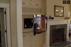 Flat Panel on Articulating Mount - Traditional - Family Room - Boston - by DC Ho. - Flat Panel on Articulating Mount – Traditional – Family Room – Boston – by DC Home Systems - Tv Built In, Built In Shelves, Fireplace Built Ins, Fireplace Wall, Fireplace Remodel, Tv Placement, Traditional Family Rooms, Built In Cabinets, Built In Tv Cabinet