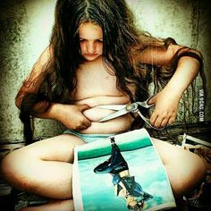 This picture is the realist image out there. This is what society is doing to young girls. It is telling them that they are not enough, and never will be. It is giving them excuses to hate themselves. Females are taught to cut away all the bad parts about them selves because if they don't there are worth nothing. Girls are given unrealistic expectations, and they know that, but they still follow them hoping to beat the odds. Hoping to be concerned pretty. Hoping to be considered at all.