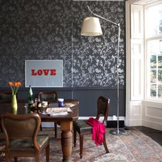 love the modernized wallpaper + artwork working with the traditional