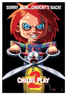 Cult Movie Posters Get A Cartoon Makeover - Chucky Cartoon Posters, Cartoon Movies, A Cartoon, Cartoon Styles, Movie Characters, Cult Movies, Scary Movies, Horror Movies, Films