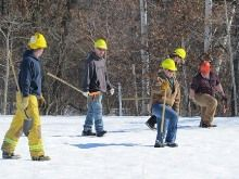 Firefighters must find the hot spots and put them out. They walk in a line to make sure they don't miss a spot. In this event, where there w...