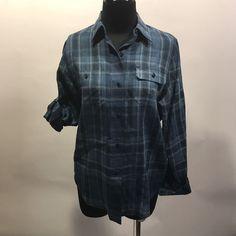 Lauren Ralph Lauren Petite Navy Blue Plaid 100% Linen Long/Short Sleeve Blouse S #LaurenRalphLauren #Blouse #CasualCareer